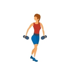 Cartoon of a woman exercising with vector image