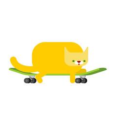 Cat on skateboard pet on board kitten skateboarder vector