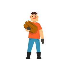 cheerful male farmer gardener character at work vector image