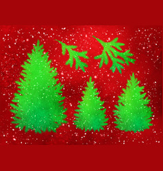 Collection of christmas spruce trees and branches vector