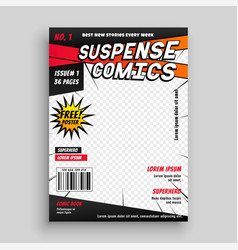 Comic book publication cover page design vector