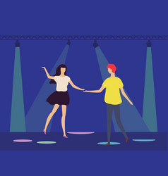 dancing people in disco club under spotlights vector image