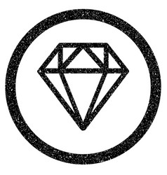 Diamond rounded icon rubber stamp vector