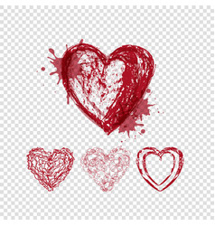 Doodle hearts with blots and lines valentines day vector