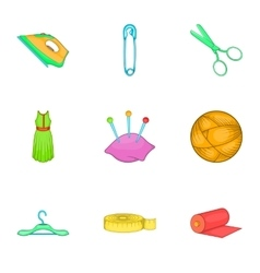 Embroidery kit icons set cartoon style vector