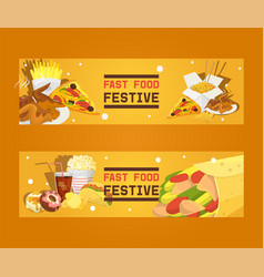 fast food festive set banners vector image
