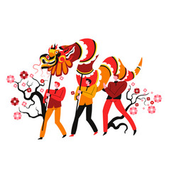 fire dragon and male characters chinese festival vector image