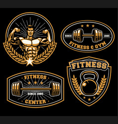 fitness training center badge vector image