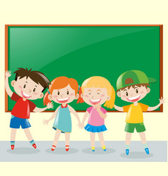Four students having fun in classroom vector