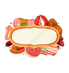 Frame with meat products of sausages vector