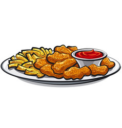 Fried chicken nuggets and fries vector