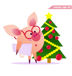 funny pig with glasses and christmas tree vector image