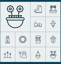 Garden icons set with wind power floret tractor vector