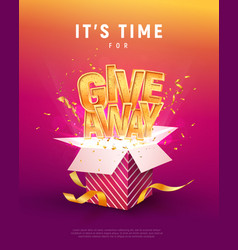 Giveaway word above open box with confetti vector