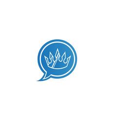 Golden crown chat logo design luxury symbol vector