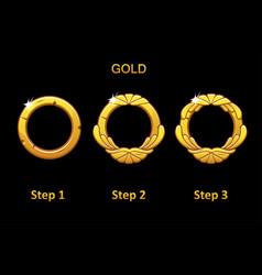 golden round frame app 3 steps to progress vector image
