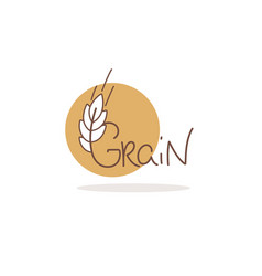 grain logo template with calligraphy lettering vector image