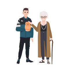 grandson and grandmother petting little dog vector image