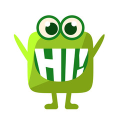 Green blob saying hi cute emoji character with vector