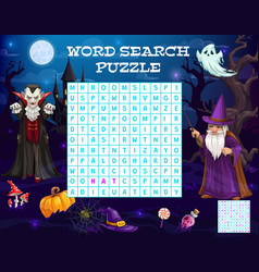 Halloween word puzzle game worksheet quiz riddle vector