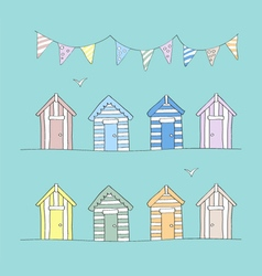 Hand Drawn Beach Huts and Bunting vector image