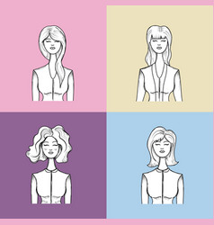 Hand drawn set women face with hairstyle vector