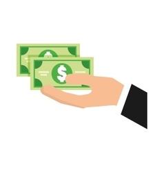 Hand human with bills money vector