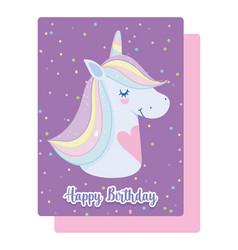 happy birthday unicorn with hearts rainbow horn vector image