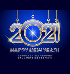 happy new year 2021 greeting card chic alphabet vector image