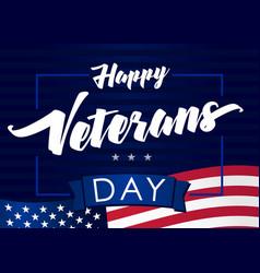 happy veterans day 11 november navy blue banner vector image