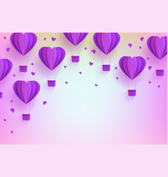 heart shaped violet hot air balloons in trendy vector image