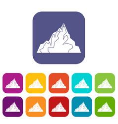 iceberg icons set flat vector image