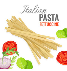 italian pasta poster with fresh vegetables vector image