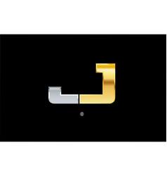 J silver gold letter alphabet logo icon design vector