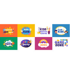 kids club banner children play zone and kids toys vector image