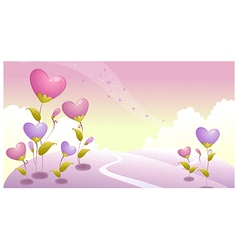 Landscape with heart vector