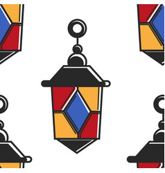 lantern moroccan symbol seamless pattern lamp of vector image