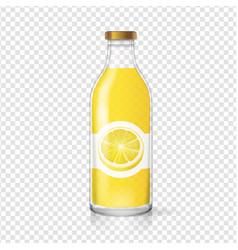 Lemon juice glass bottle with juice label vector