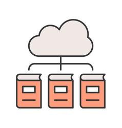 library cloud computing concept editable stroke vector image