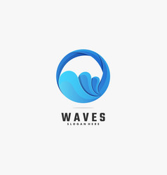 Logo waves gradient colorful style vector