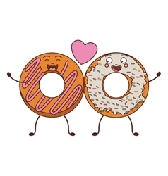 love between donuts with white and pink glazed vector image