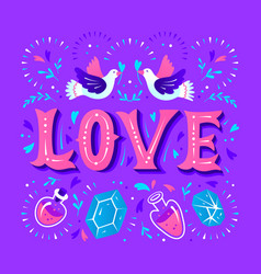 Love card with magical decorative elements and vector