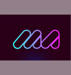 Ma m a pink line alphabet letter combination logo vector
