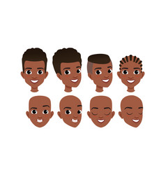 male heads set cheerful african american boys vector image