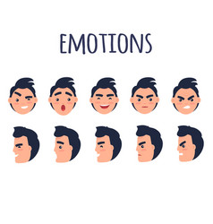 man faces with different emotions flat set vector image