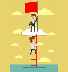 man standing while holding the career ladder to vector image