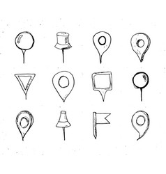 Map pointers hand drawn sketch set navigation vector