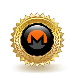 Monero cryptocurrency coin gold badge vector