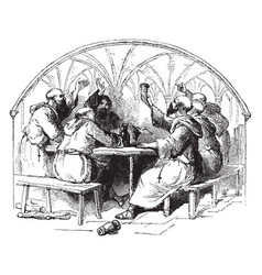 Monks at a table vintage vector