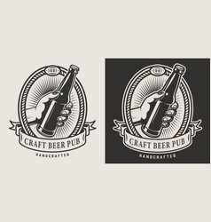 monochrome craft beer logo vector image